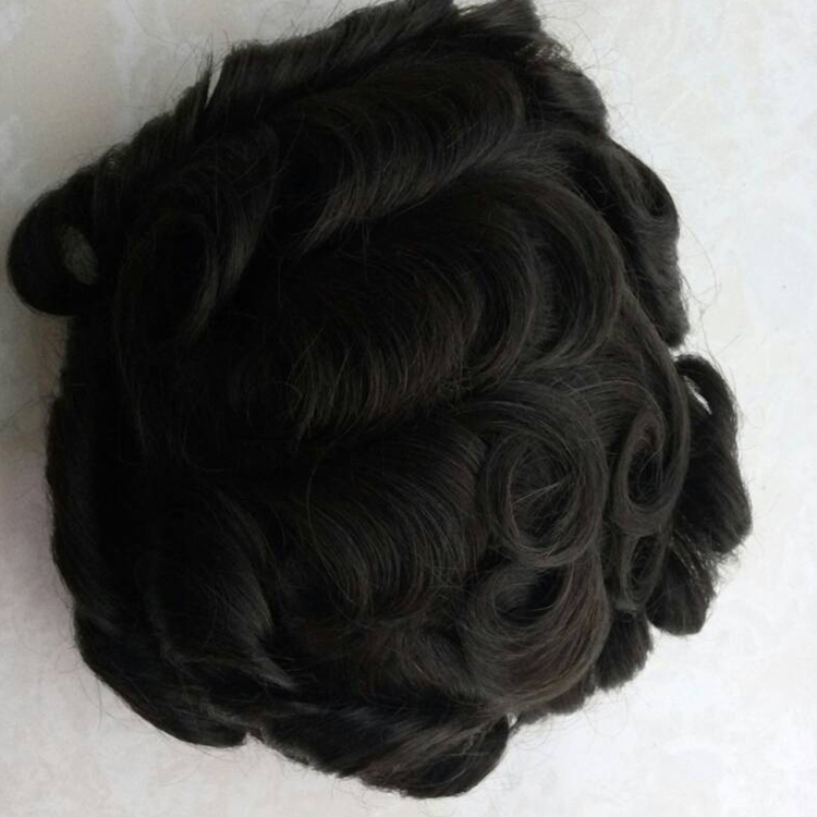 Stock all V Loop without knot natural super thin skin toupee for bald men with factory price QM056