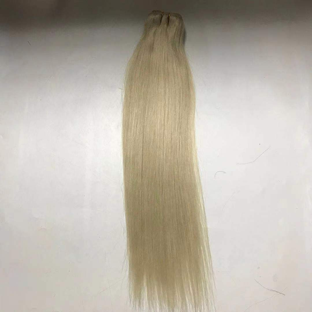 Platinum pupular color hair machine weft natural end silky straight WK239
