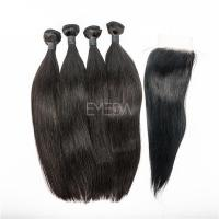Unprocessed straight human hair weave extension with closure XS009