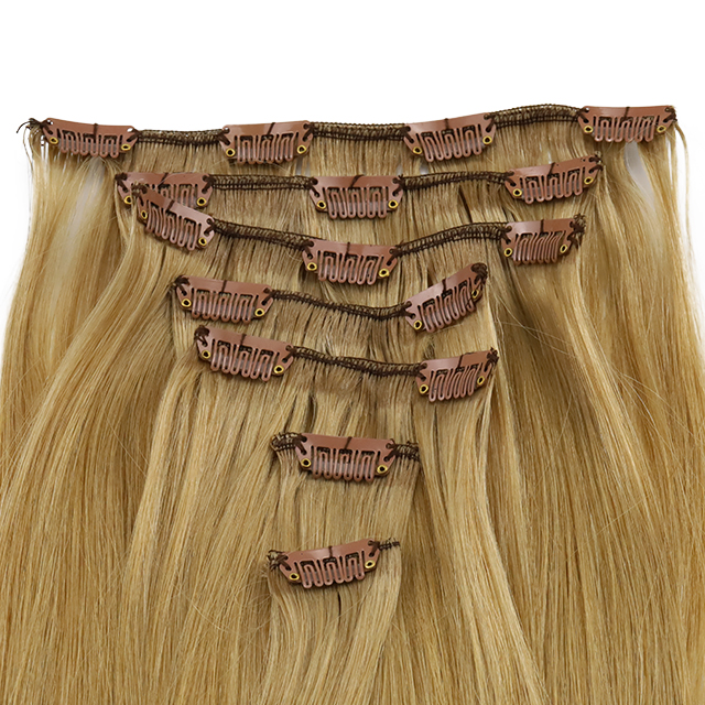70 Grams 7 Pieces in a Set Clip in Hair Extension 16 Clips Straight Hair Dark Blonde WK264