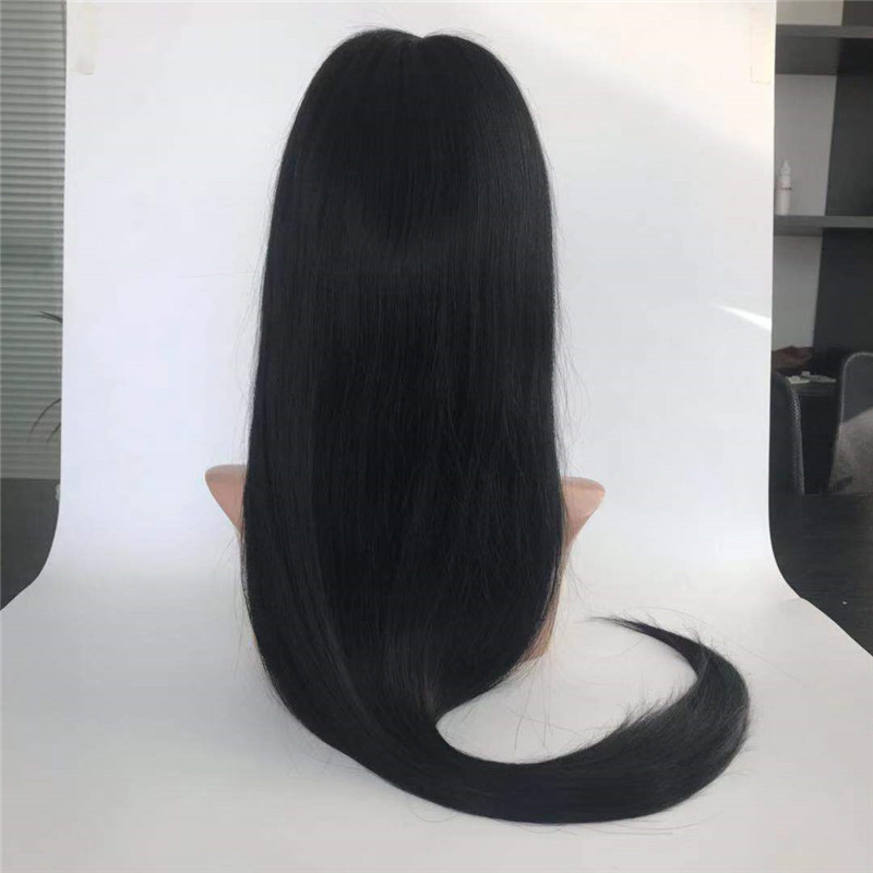 Silky Straight Natural Black 150 Density with Natural Hair Line Wig WK078
