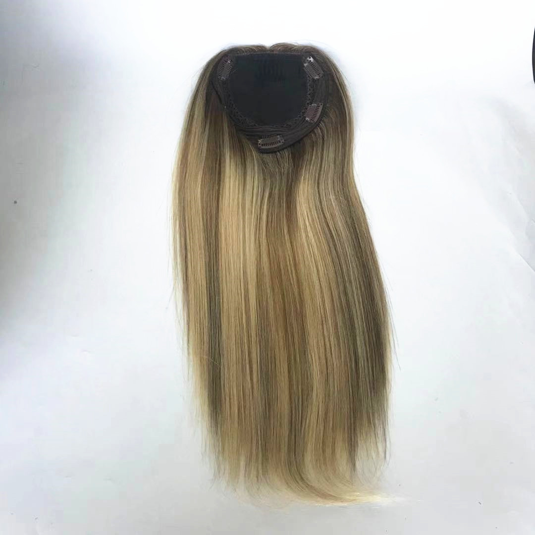 silk base woman topper with clip ombre color piano color middle brown with light blonde WK267