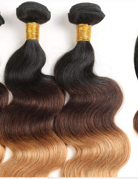 Real Human Hair weft Ombre Color  Straight Brazilian Hair Sew In Extensions YL351