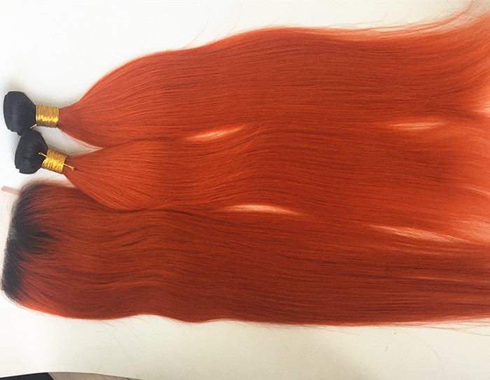 Real Human Hair weft Ombre Color 1b orange  Blonde Package Straight Brazilian Hair Sew In Extensions YL350