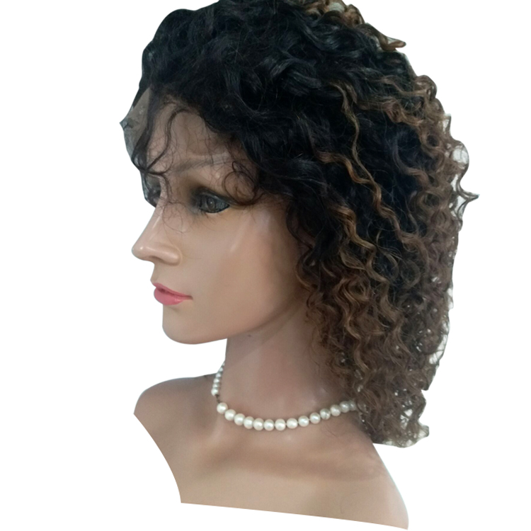 Human Hair Wig 1b/4 Ombre Color Curly Lace Front Wig 16 Inch Factory Price Lace Wig LM365