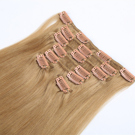 Double drawn virgin remy human cilip in hair extention 100g 120g 140g 200g clip in hair extension HN211