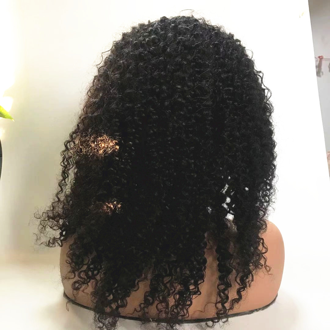 180% density closure wig combination wig kinky curly 12 inch WK270