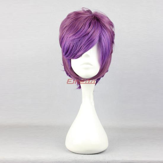 blue cosplay wig ponytail