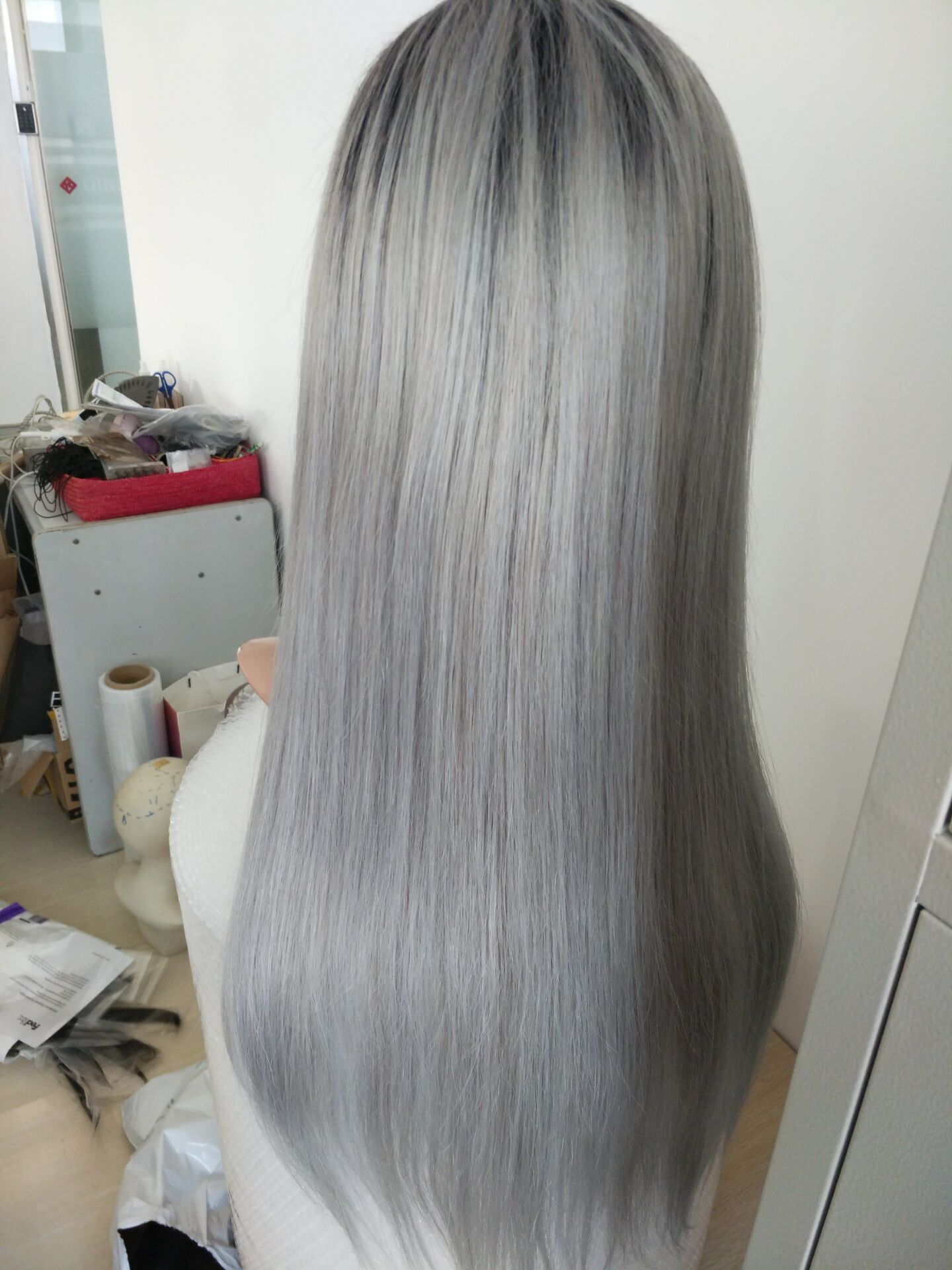 Silver gray wigs human lace wig,glueless braided wig,natural wavy hair wig HN301.