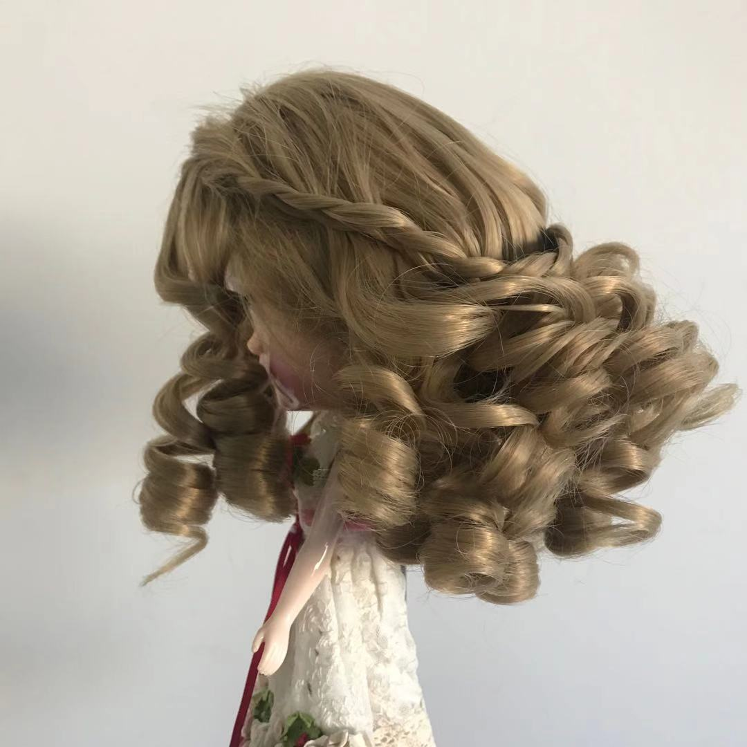 Dark Blonde Big Curl Doll Wig Big Head Size Coarse Synthetic Hair WK251