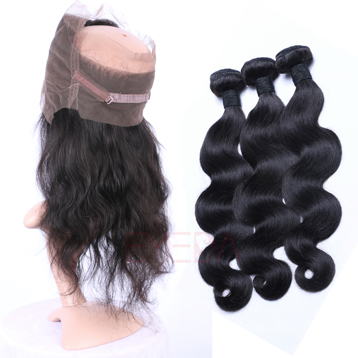 Emeda Hair Accessories Virgin Brazilian 360 Lace Frontal Hair Extensions   LM073