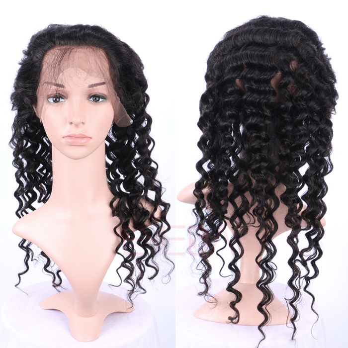 EMEDA Peruvian Hair 360 Lace frontal with hair extensions deep wave hair Pre Plucked Lace Frontals HW060