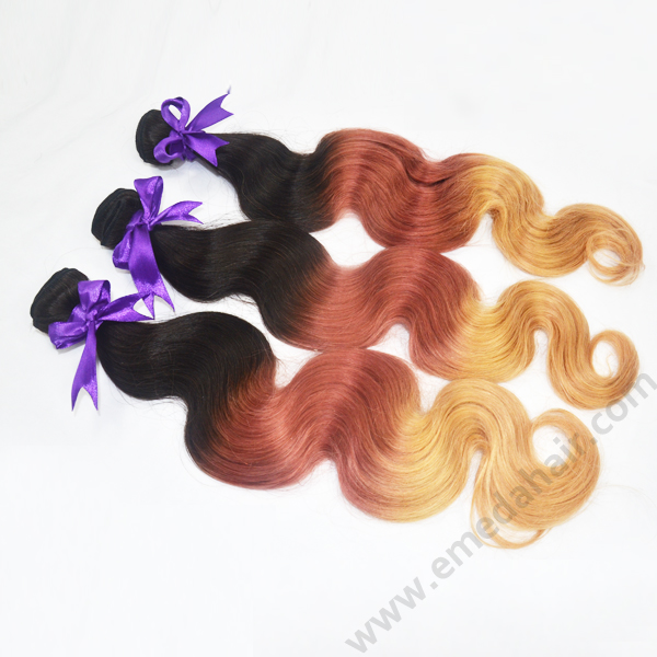 100 human ombre braiding hair extensions ombre 3T hair 1B/4/30 extension bundles hn164