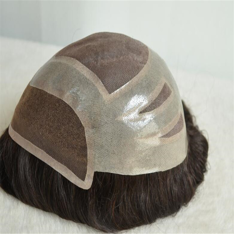 Four Holes Toupee for Both Black Man and White Man with Wholesale Price WK053