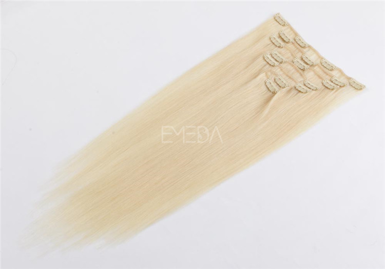China wholesale blonde clip in human hair extensions suppliers QM046