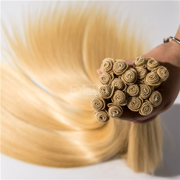 Double Drawn Human Hair Extension Hand Tied Virgin Remy Hair Weft YL207