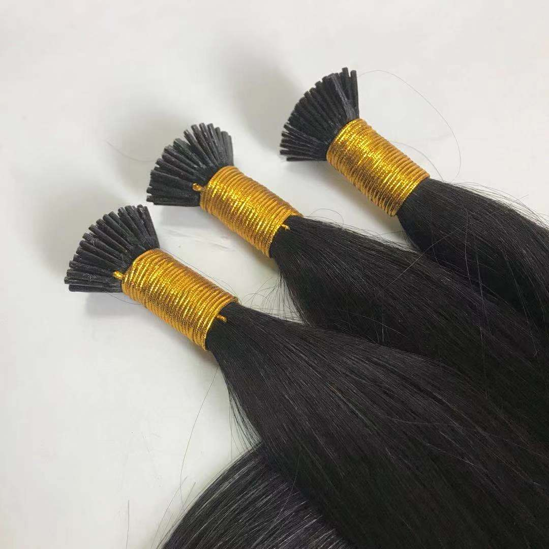 I Tip Hair Extension Natural Black Long Length Remy Hair Cheap Price WK253