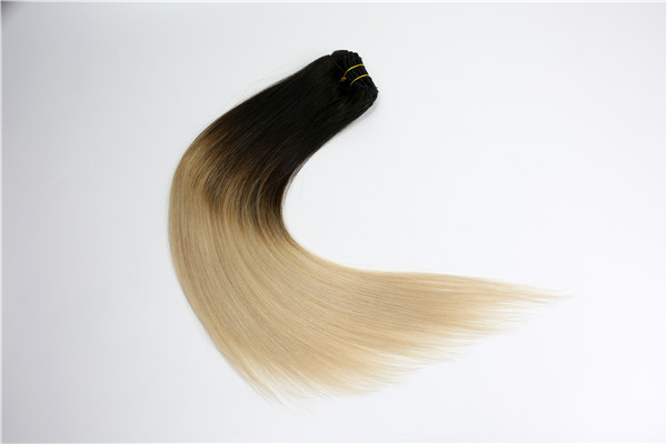 100% human hair ombre color clip in hair extensions JF066