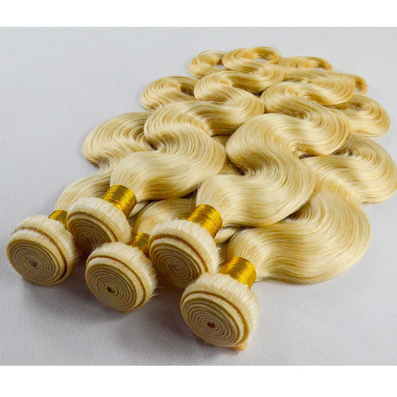 Blonde weft 613 color virgin hair weft in stock hair weft YL434