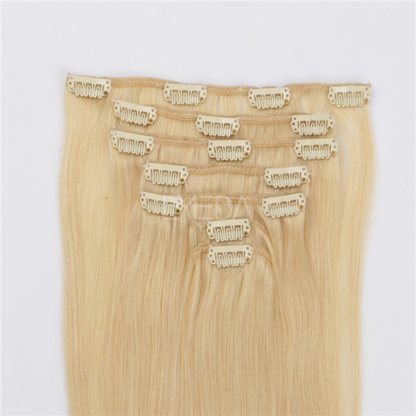 Clip in human hair extensions 30 inch blonde XS069