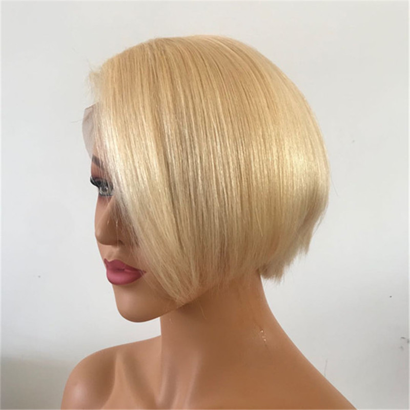Transparent Lace Blonde Color Pixie Cut Bob Wig Human Hair WK149