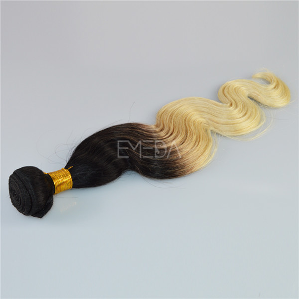 Indian remy human hair 1b 613 two tone hair weft ombre CX019