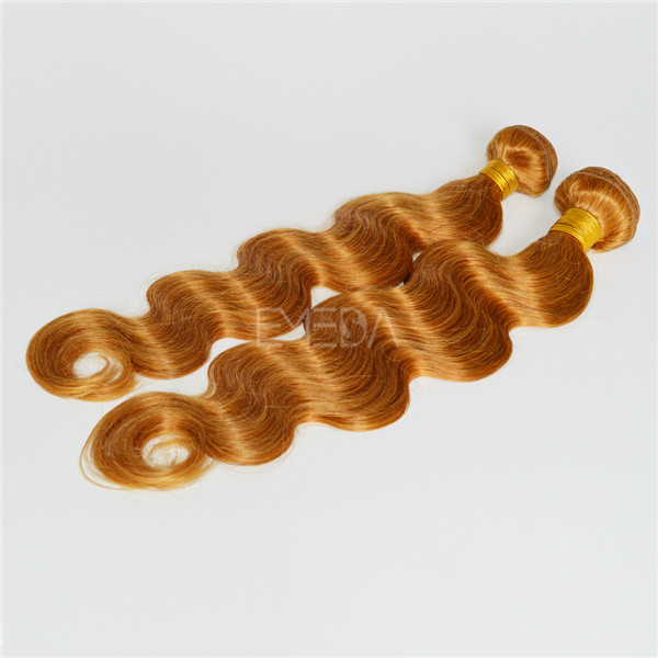 Golden color Indian body wave hair weave LJ142
