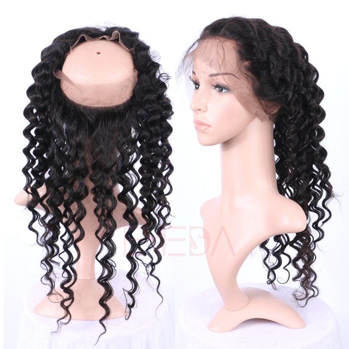 EMEDA 360 lace frontal Deep Wave Brazilian Hair 360 lace closure HW035