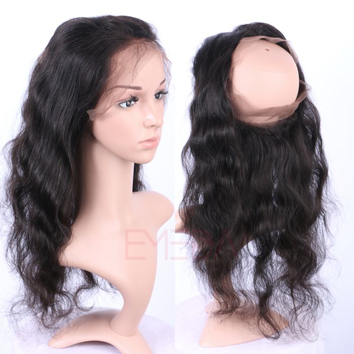 EMEDA Brazilian Hair body wave 360 Lace frontal with baby hair 360 Lace Virgin Hair Pre Plucked Lace Frontals HW026