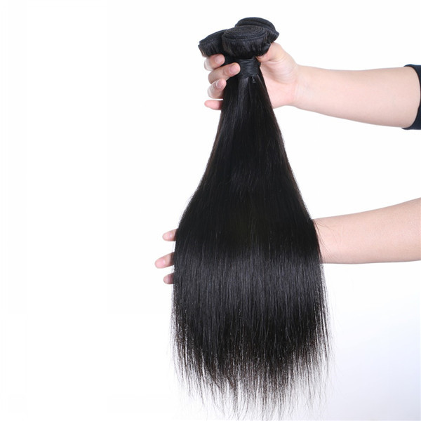 Natural color virgin human Brazilian straight hair extension for women  LM003