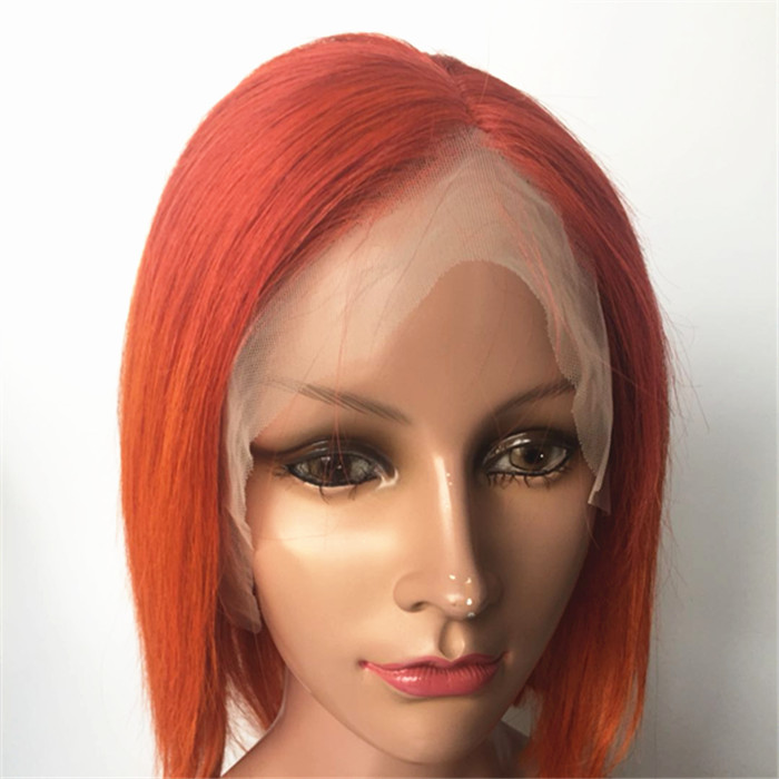 14inch Orange Human Hair Short Bob Wigs Lace Front Wig for Black   Women Pre Plucked Hairline with Baby Hair  YL372