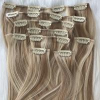 China best two color clip in human hair extensions 120g factory manufacturer balayage mix YJ299