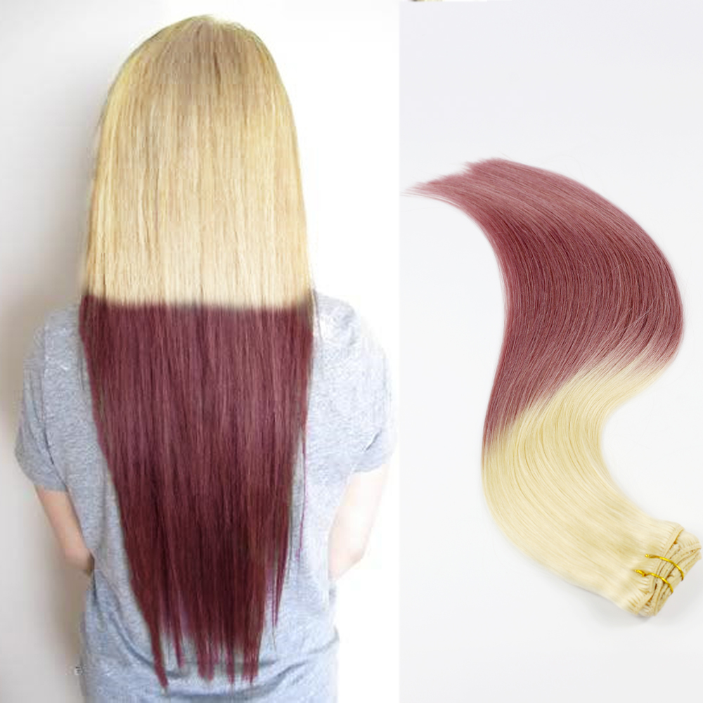China Invisible Hair Suppliers Ombre Clip In Hair Extensions Factory