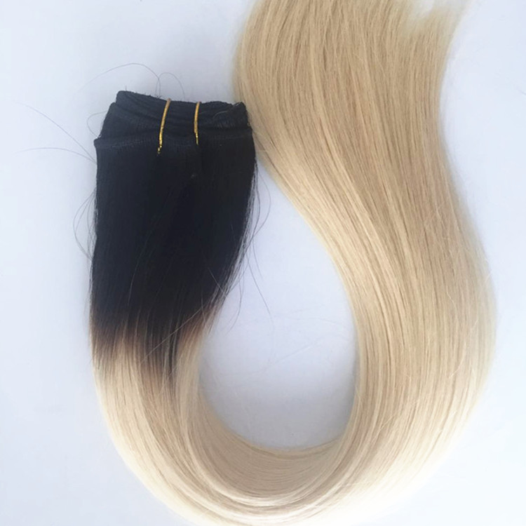 Straight Hair Bundles human  Hair Weave Extensions Two Tone Ombre Colored Black blonde YL282