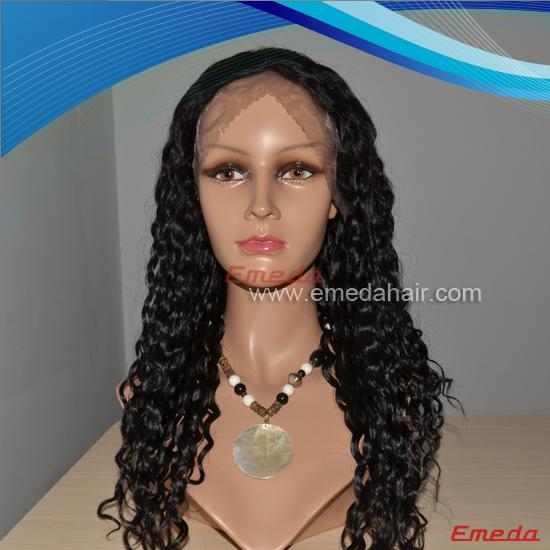 curly human brazilian hair lace front wig