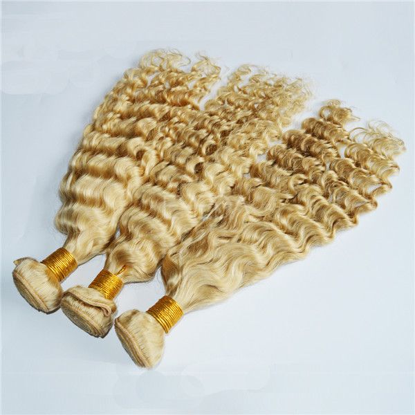 Blonde color Peruvian human hair  LJ141