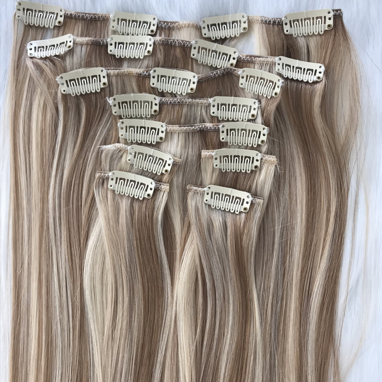 China Best Two Color Clip In Human Hair Extensions 120g Factory