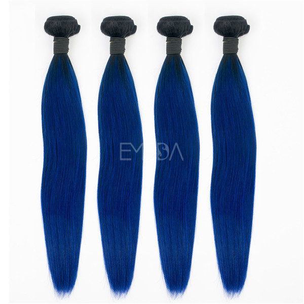 Straight blue color Indian elegance hair extensions YJ176