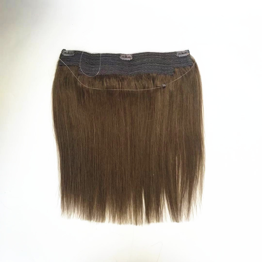 One piece Flip in hair extension with fish line can adjust length medium brown color WK258