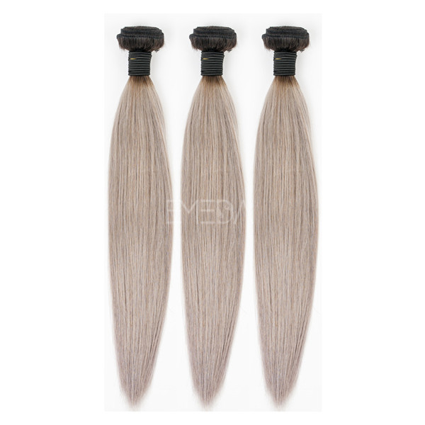 Stock 7A 100% Indian gray hair extensions YJ180