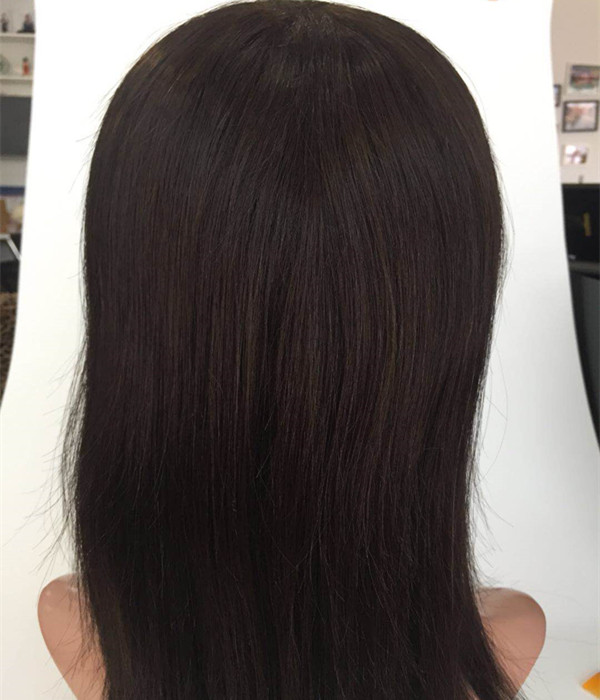 Natural black color human hair full lace hd lace wig silk base PU around custome size JF347