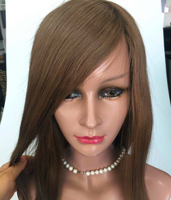 8-30 inch Color 6 human hair Full Lace wig PU around customs made wig factory JF348