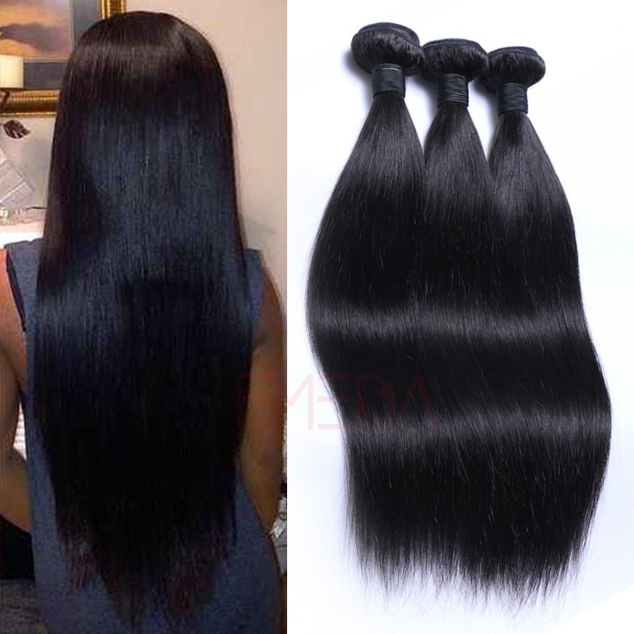 Malaysian Hair Silk straight human hair weave lace closure with bundles  HW0108