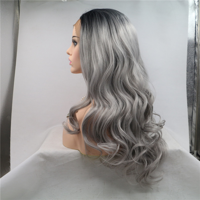 Ombre Grey with Black Root Body Wave Silky Hair No Tangle Hair Manufacturer WK185