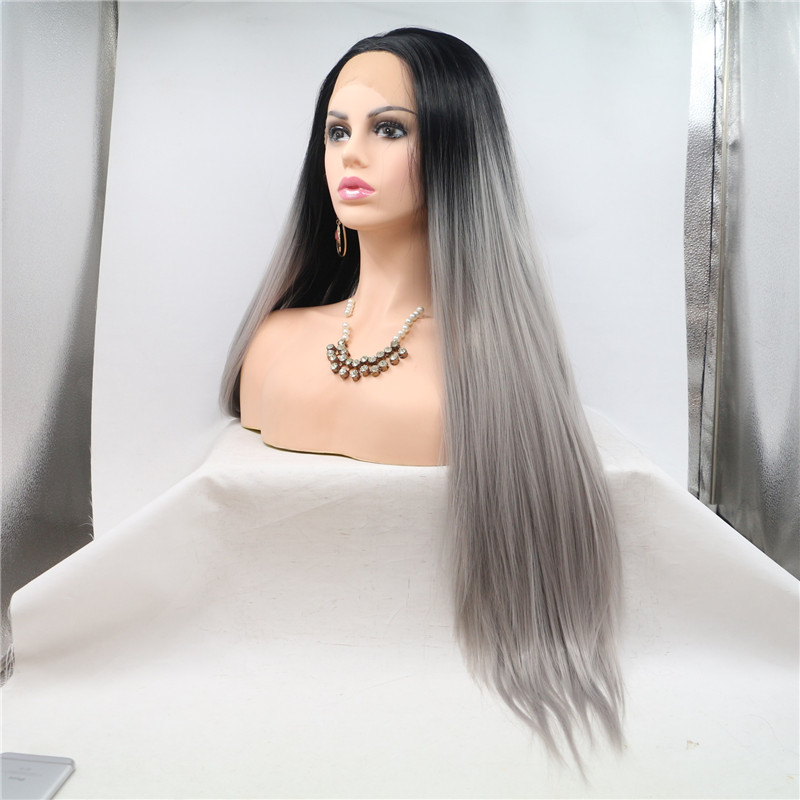 Straight Ombre Grey Lace Front Wig 180 Density Brazalian Hair Supplier WK186