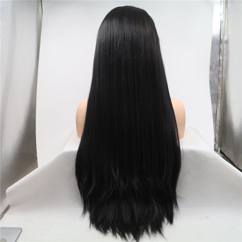 Real Human Hair Black Color Long Length Full Lace Wig WK181