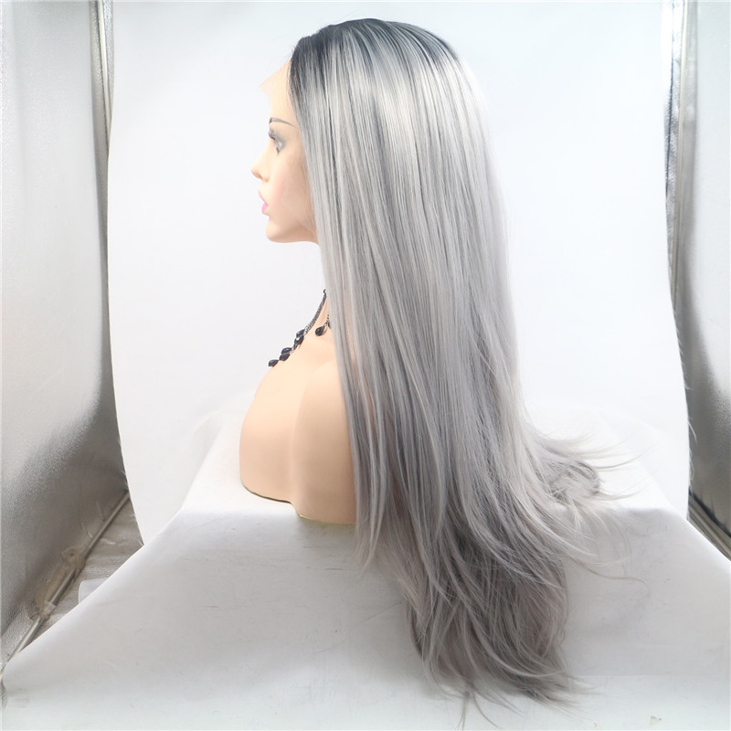 Left Part Fashion Wig Black and Grey Hair 30 inch Length WK188