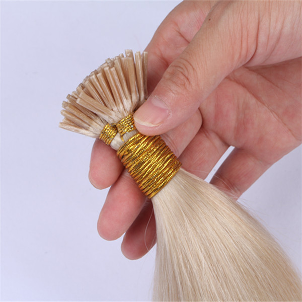50 Strands Per Pack Stick Tip Hair Extensions #60 White Blonde Color   Keratin Human Hair Extensions YL349