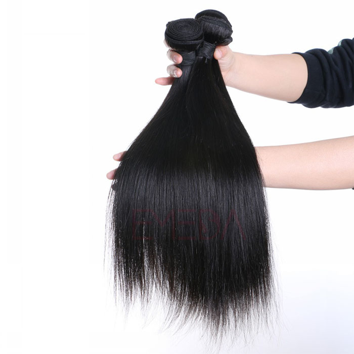 EMEDA Indian Hair Pieces Silk Straight Human Natural Hair Extentions HW014