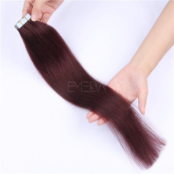 Wholesale High Grade Hair Vendor In China Red 99J Tape In Hair Extension YL197